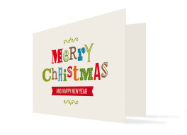 Weihnachtskarte Merry Christmas (Klappkarte, mit 4 Fotos)