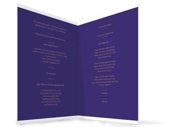 Innenansicht, Klappkarte zur Hochzeit (Kirchenheft), Motiv Delhi, Farbversion: blau