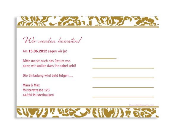Rückseite, Einladungs-Postkarte zur Hochzeit, Motiv Barcelona, Farbversion: beige