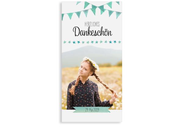 """Danksagung zur Kommunion """"Stimmung"""" (Postkarte mit Foto)"""