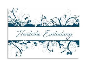 Einladung Flowers (Postkarte) Blau