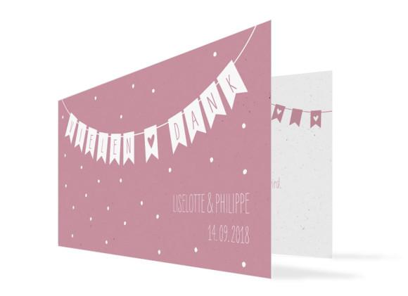 Danksagung zur Hochzeit Wimpelkette (Klappkarte DL - ein Foto)