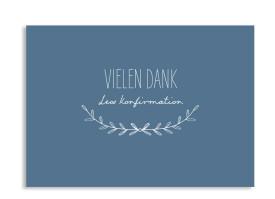 """Konfirmationsdanksagungen """"Zweig"""" (Postkarte) dunkelblau"""