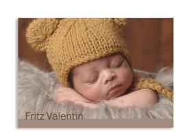 Geburtskarte Frida/Fritz (Postkarte) Braun/Junge