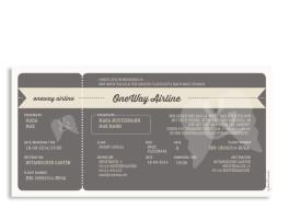 Hochzeitseinladungen Flugticket (Postkarte einseitig)