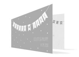 Danksagung zur Hochzeit Wimpelkette Grau