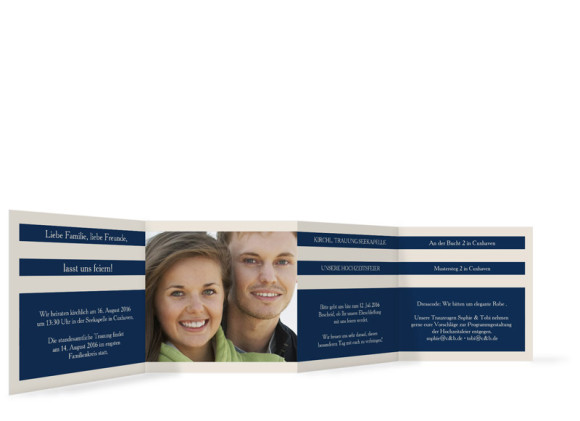 Einladungskarten zur Hochzeit Monaco, Innenseiten der Farbversion: blau