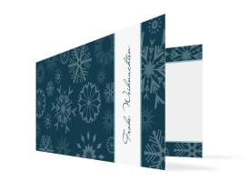 Firmen-Weihnachtskarte Snowflakes Blau