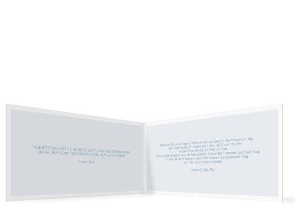 Kommunionseinladung (Klappkarte mit zwei Fotos), Motiv: Bedeutung, Innenansicht, Farbvariante: dunkelblau