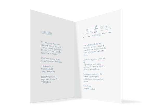 Einladungskarten zur Hochzeit (Klappkarte C6), Motiv: Rotterdam, Innenansicht, Farbvariante: blau