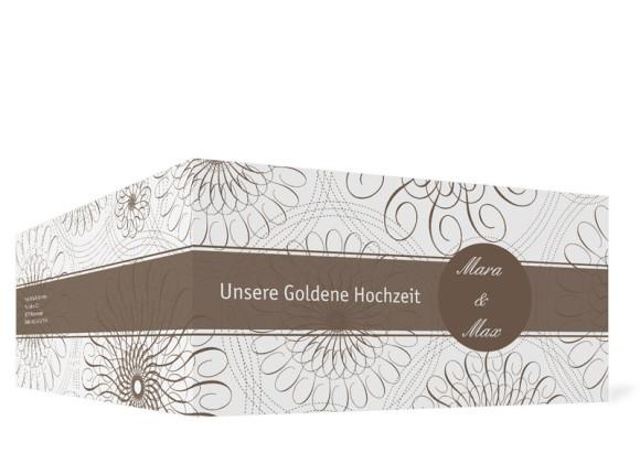 Außenansicht, Einladungs-Klappkarte zur Goldenen Hochzeit (Format DIN Lang), Motiv Mandala, Farbversion: beige
