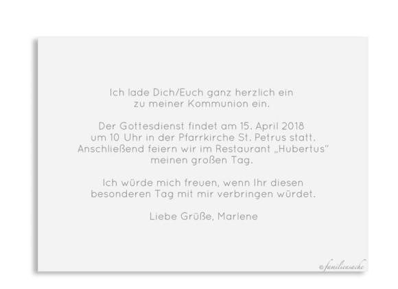 Kommunionseinladung (Postkarte mit Foto), Motiv: Kraftvoll, Rückseite, Farbvariante: weiss