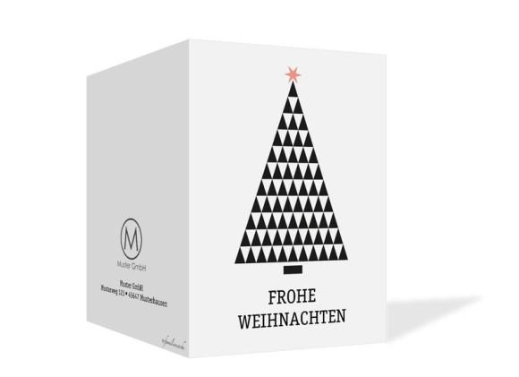 Weihnachtskarte für Firmen Origami, Außenseite: apricot