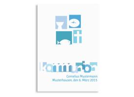 Danksagungen zur Kommunion Cora/Cornelius (Postkarte) Blau