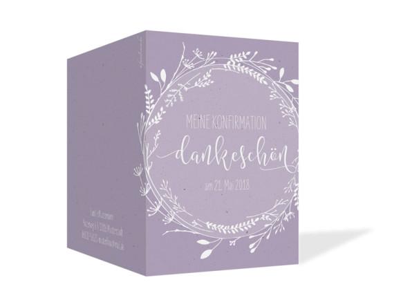 Danksagung zur Konfirmation (Klappkarte), Motiv: Blumenkranz, Aussenansicht, Farbvariante: Lila