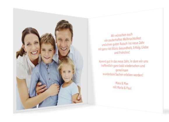 quadratische Weihnachtskarte Pure White in apricot, Innenansicht