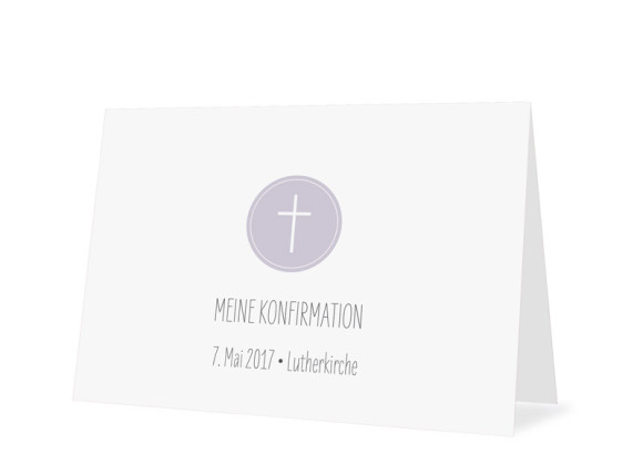 Danksagung zur Konfirmation Motiv Pure Cross, Außenansicht, Farbversion: flieder