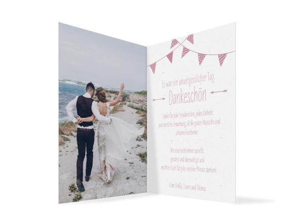 Danksagung zur Hochzeit (Klappkarte im Format A6), Motiv: Amsterdam, Innenansicht, Farbvariante: Altrosa