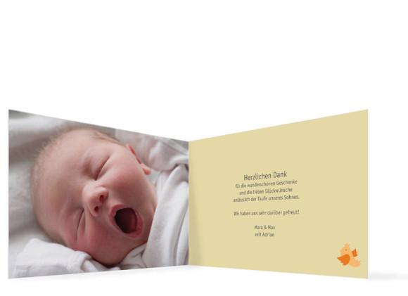 Innenansicht, Danksagung zur Taufe, Motiv Anna/Adrian, Farbversion: beige