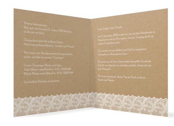 Einladung zur Hochzeit (quadratische Klappkarte), Motiv: Gibraltar, Innenansicht, Farbvariante: weiß