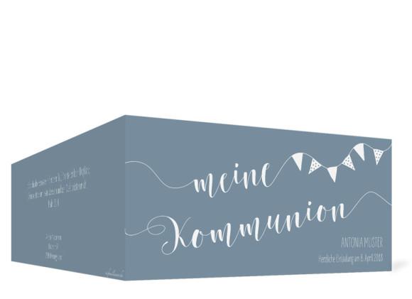 Karten zur Kommunion (Klappkarte im Format DIN Lang), Motiv: Frühlingsfrisch, Außenansicht, Farbvariante: blau