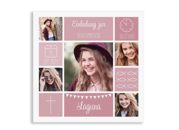 """Einladung zur Konfirmation """"Bildreich"""" (Quadratische Postkarte)"""