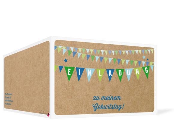 Einladungskarten, Motiv Wimpel, Außenansicht, Farbversion: blau/grün