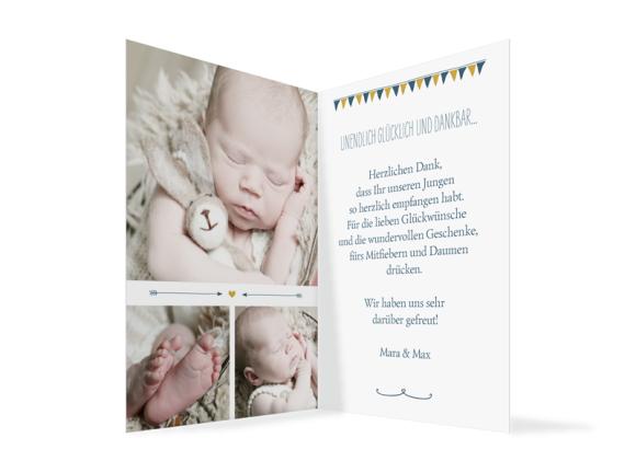 Danksagung Geburt (Klappkarte A6, 3 Fotos), Motiv: Magda/Mark, Innenansicht, Farbvariante: dunkelblau
