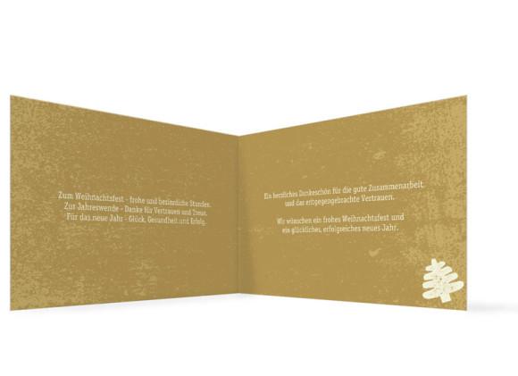 Innenansicht, Firmen-Weihnachtskarte Tannen mit Firmenlogo, Farbversion: creme