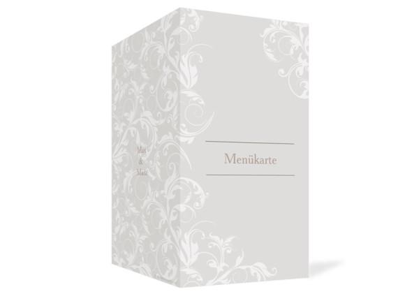 Außenansicht, Menükarte zur Hochzeit (Klappkarte), Motiv Dubai, Farbversion: beige