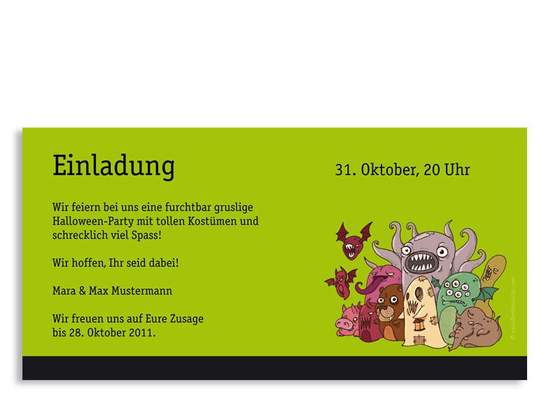 halloween-einladungskarte monster1 selbst online gestalten, Einladung