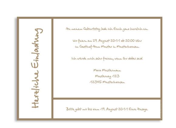 Rückseite, Einladung zum Geburtstag, Motiv Glasgow, Farbversion: beige