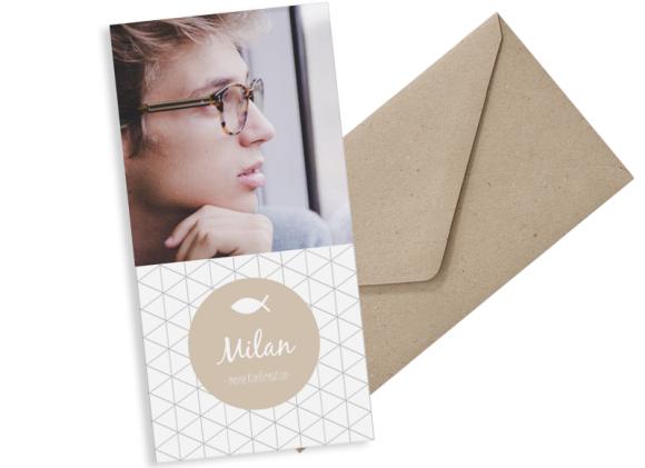 Konfirmationseinladungen (Postkarte DL mit einem Foto), Motiv: Segen, mit Briefhülle, Farbvariante: beige
