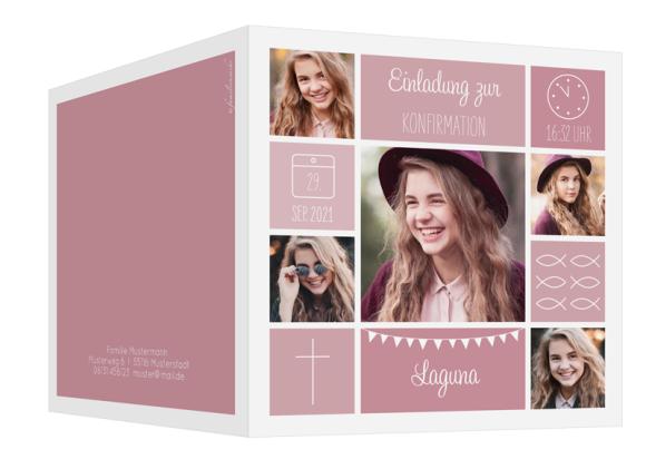 Einladung zur Konfirmation (quadratische Klappkarte mit fünf Fotos), Motiv: Bildreich, Aussenansicht, Farbvariante: altrosa