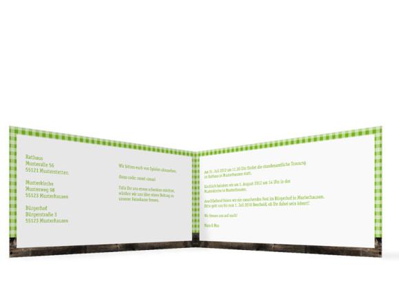 Innenansicht, Klappkarte zur Hochzeit (Format DIN Lang), Motiv Alpenglühen, Farbversion: grün
