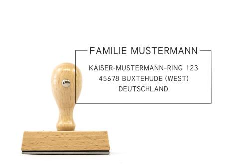 "Adressstempel ""Buxtehude"" (Holzstempel), 70 x 30 mm"