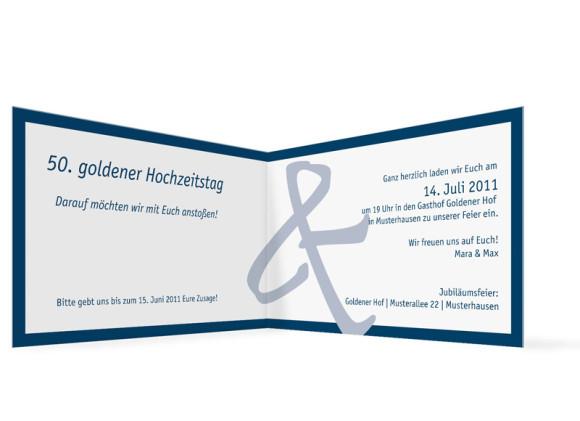 Innenansicht, Einladung zur Goldenen Hochzeit, Motiv Bern, Farbversion: blau