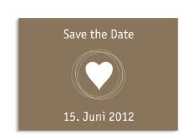 Save-The-Date-Karte Pur zur Hochzeit (Postkarte A6) Beige/Weiß