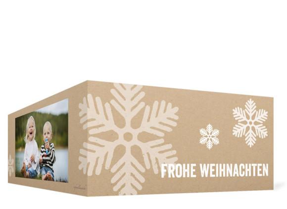 Weihnachtskarten Eissterne, Außenansicht in Weiß