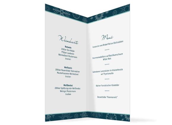 Innenansicht, Menükarte zur Hochzeit (Klappkarte), Motiv Reykjavik, Farbversion: blau