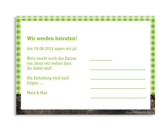 Rückseite, Einladungs-Postkarte zur Hochzeit, Motiv Alpenglühen, Farbversion: grün