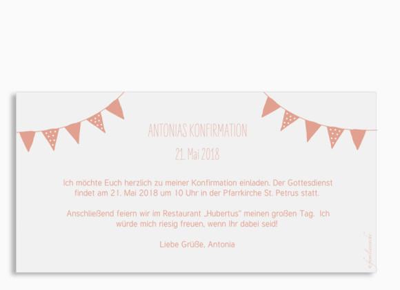Einladungskarte zur Konfirmation (Postkarte), Motiv: Frühlingsfrisch, Rückseite, Farbvariante: apricot
