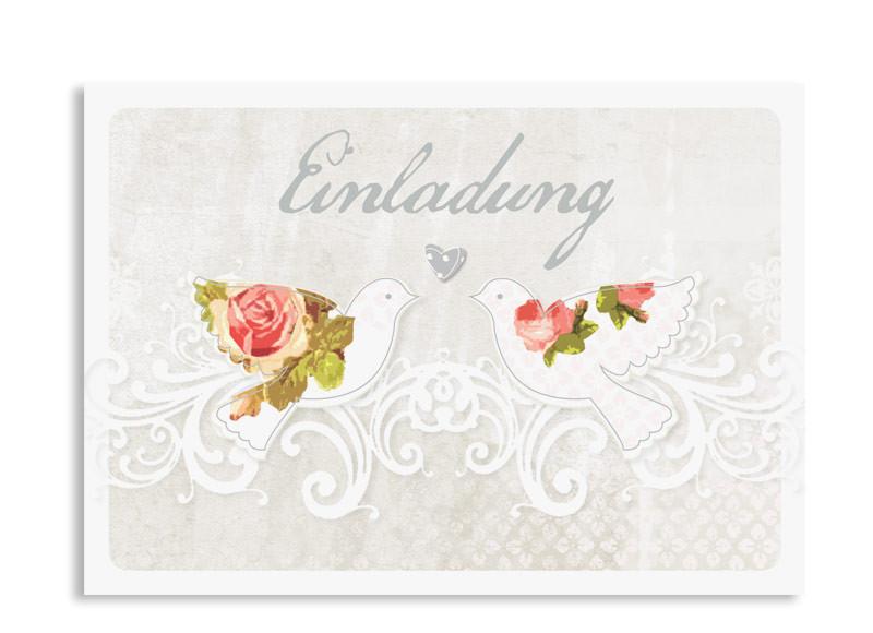 Einladungskarten Silberhochzeit Turteltauben Grau. Einladung Silberhochzeit  Turteltauben