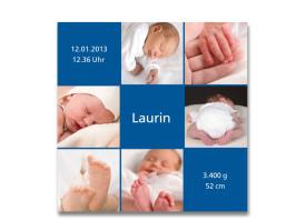 Geburtskarte Luise/Laurin (quadratische Postkarte) Blau