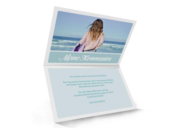 Kommunionsdanksagungen (Klappkarte mit Fotos), Motiv: Lucia / Luca, Innenansicht, Farbvariante: eisblau