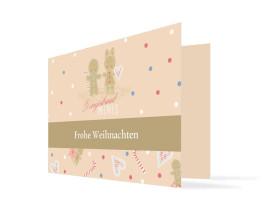 Weihnachtskarte Lebkuchenpaar Beige