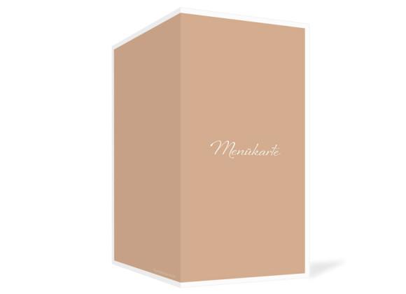 Außenansicht, Menükarte zur Hochzeit (Klappkarte), Motiv Verona, Farbversion: beige