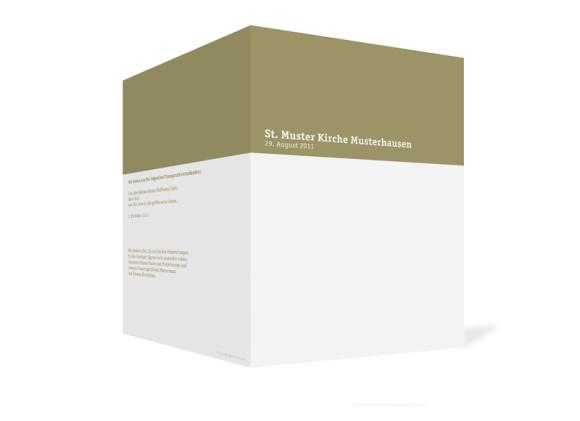 Außenansicht, Klappkarte zur Hochzeit (Kirchenheft), Motiv Colour, Farbversion: beige