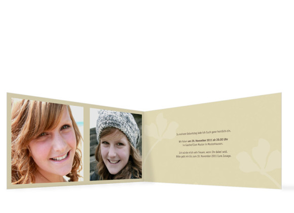 Innenansicht, Geburtstagseinladung (Format DIN Lang), Motiv Growing, Farbversion: beige