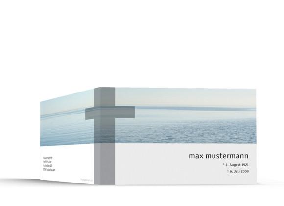 Außenansicht, Trauerkarte Motiv Meer, Farbversion: blau/weiß